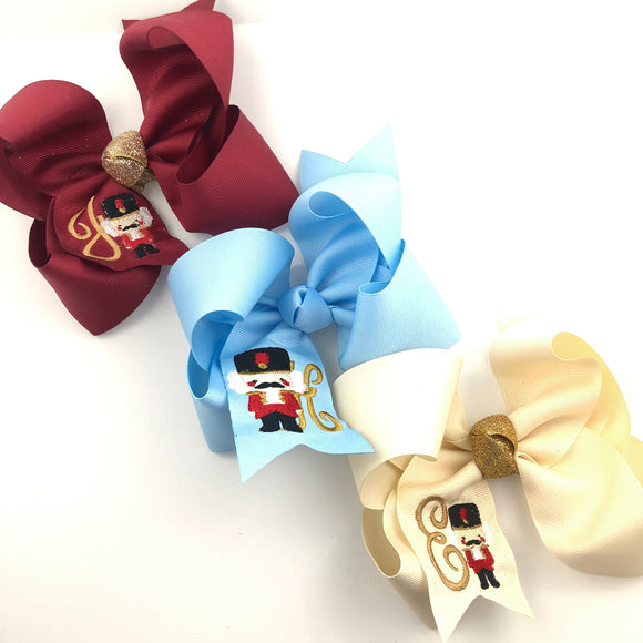 Large Personalized Nutcracker Christmas Bow  (Various Colors)