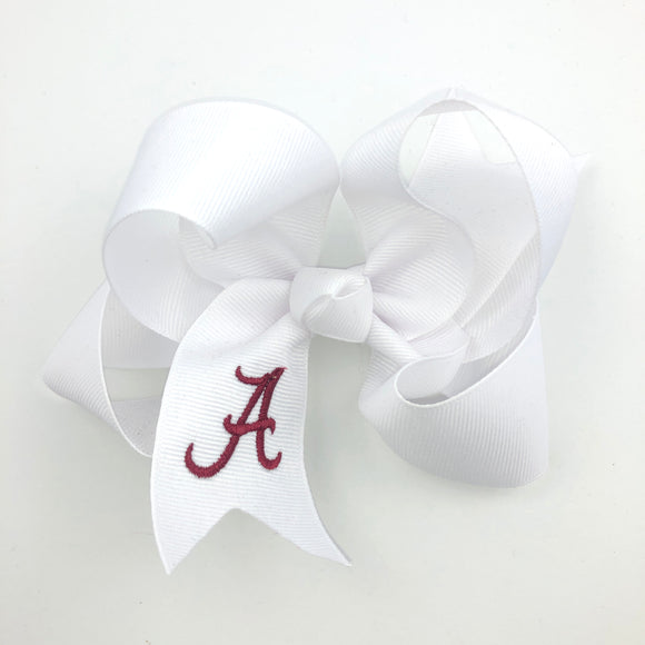 Medium White Bow with Bama A - Alligator Clip Right