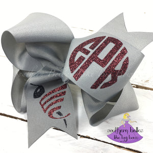East Central Hornet Bow with Glitter Monogram