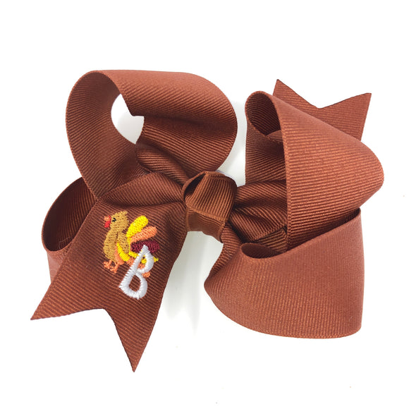 Medium Personalized Thanksgiving Bow for Girls - Alligator Clip