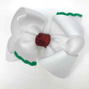 Medium White Christman Bow with Green Ric-Rac Trim