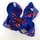 Electric Blue/Red Polka Dot Boutique Bow - Alligator Clip Right