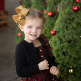 Gold glitter Christmas boutique hair bow for toddler