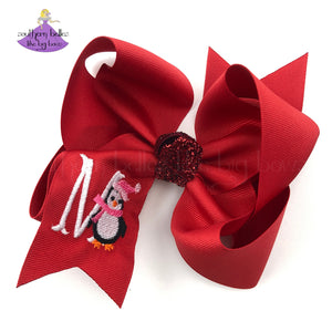 big red 6 inch bow for girl personalized with christmas penguin and initial letter