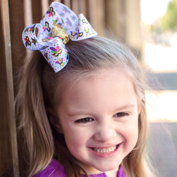 White Mardi Gras Boutique Bow
