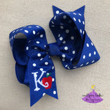 Royal Blue School Hair Bow with Apple and Initial Letter
