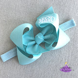 Aqua baby headband with monogrammed boutique bow