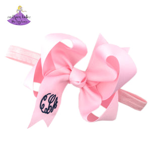 Personalized Baby Bow Headband Gift for Girl in Pink with Monogram