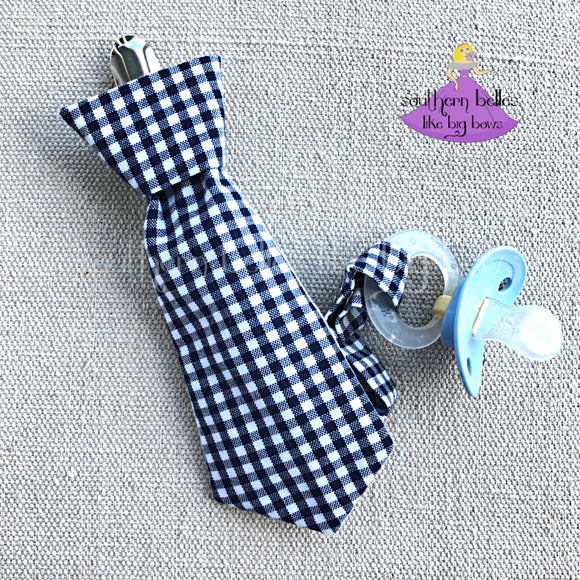 Black Gingham Pacifier Clip