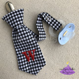 Black Gingham Check Personalized Necktie Pacifier Clip