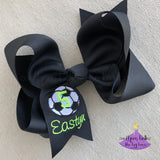 Personalized Soccer Hair Bow for Team Member with Name and Number