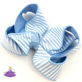 Blue seersucker boutique hair bow with blue and white stripes