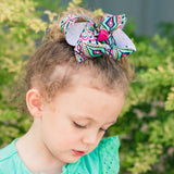 Bohemian Ikat inspired boutique bow beautifully crafted out of quality ribbon in our medium size