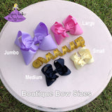 Boutique Hair Bow Sizes, Jumbo Bow, Large Bow, Medium Bow, Small Bow