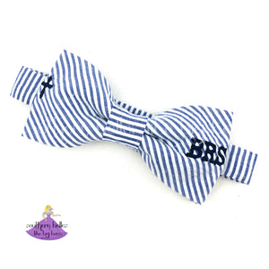 Christian Navy Blue Seersucker Bow Tie with Cross and Monogram for religious attire