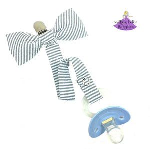 Grey Seersucker Bow Tie Pacifier Clip for Baby Boy Gift