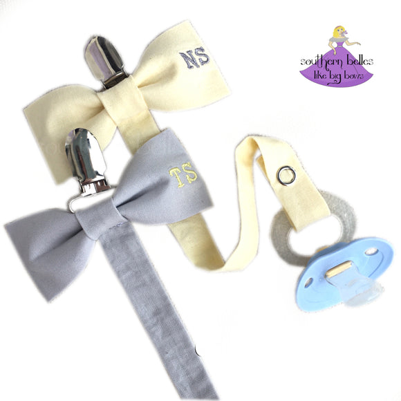 Personalized Bow Tie Pacifier Clip for Baby Boy Gift with Two Letter Initial Monogram in Yellow and Gray