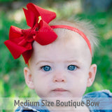 Personalized Santa Christmas Baby Bow Headband