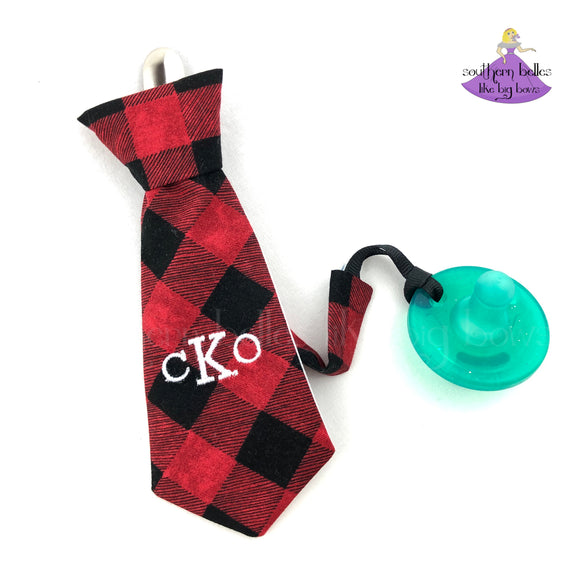 Necktie Buffalo Plaid Pacifier Clip for Boy in Gift Box