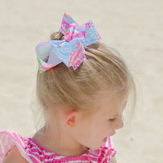 Beach Coral Reef Boutique Bow in Small or Medium Size