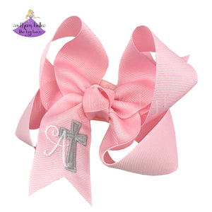 Pink Personalized Easter bow with cross and initial letter