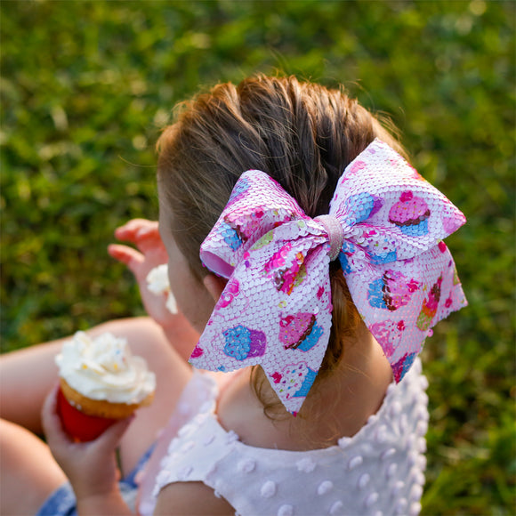 Flip Sequin Cupcake Cheer Bow - Child & Teen