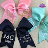 Custom graduation bows with rhinestone bling