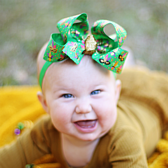 Green Mardi Gras Baby Bow Headband