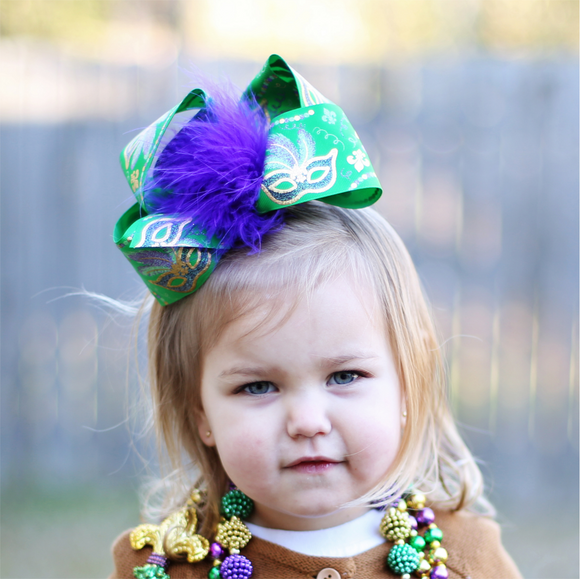 Big Green Mardi Gras Bow - Large