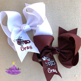 Personalized Maroon and White East Central Hair Bows