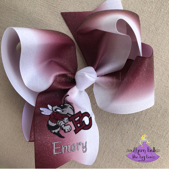 East Central Maroon and White Glitter Ombre Bow - Jumbo