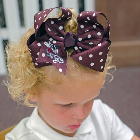 Maroon Polka Dot East Central Hair Bow