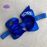 Bright neon blue baby how headband with monogram