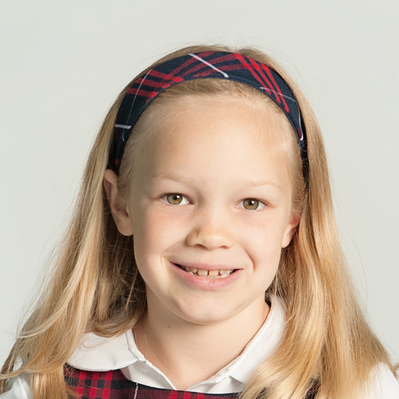 School Uniform Plaid Soft Headband - Navy Blue Red & White #4
