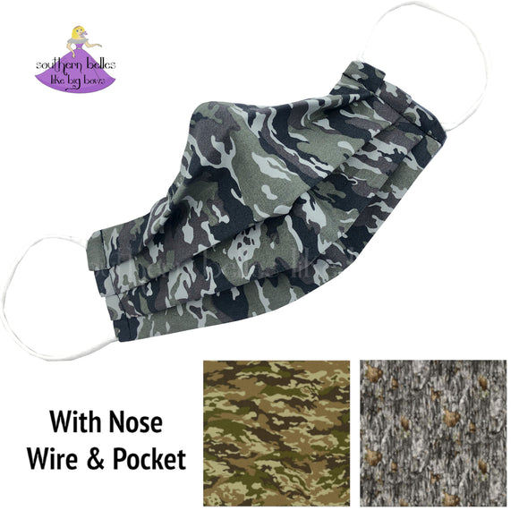 Personalized Camoflauge Washable Face Mask with Nose Wire and Filter Pocket Gift for Him