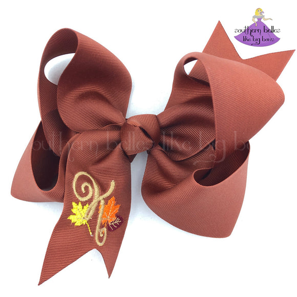 Personalized Fall Leaves Hair Bow (Various Colors & Sizes)