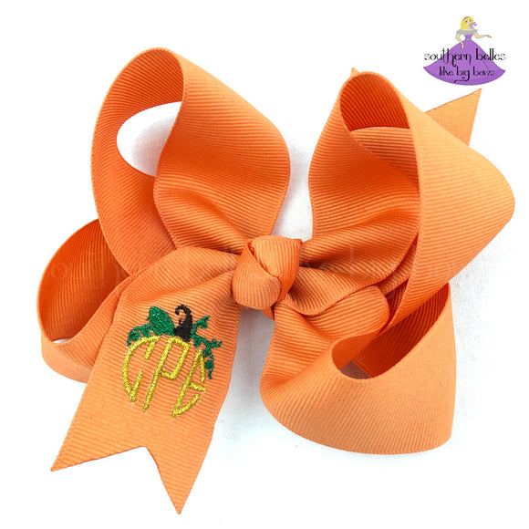 Orange pumpkin spice fall pumpkin bow personalized with monogram initials in metallic gold thread