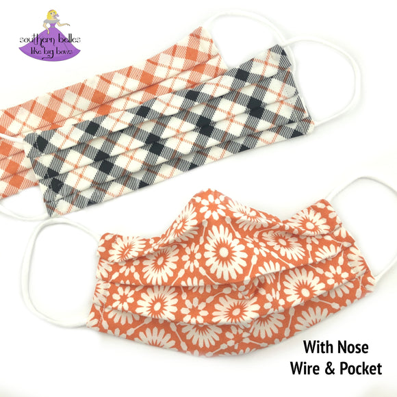 Fall Face Masks for Women in Floral and Plaid Prints with Filter Pocket and Nose Wire
