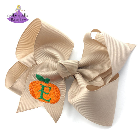 Big Boutique Hair Bow with Orange Pumpkin and Personalized Initial Letter in Khaki/Tan