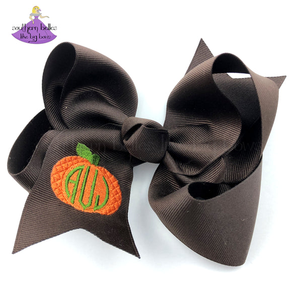 Personalized Brown and Orange Pumpkin Big Boutique Bow for Fall with Monogram in Southern Style