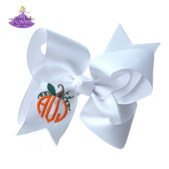 Personalized Pumpkin Monogram Boutique Hair Bow for Fall