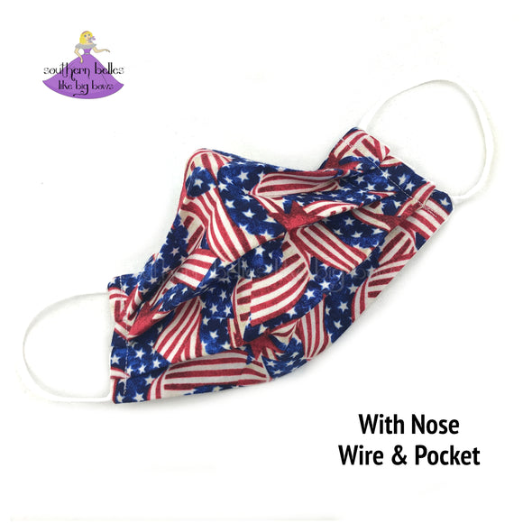 American Flag Face Mask with three layers and filter pocket made in the United State of America