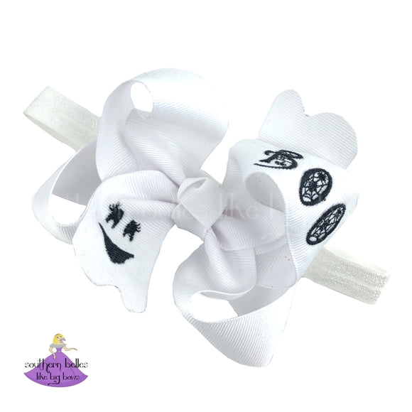 Halloween Baby Headband with Embroidered Ghost Face