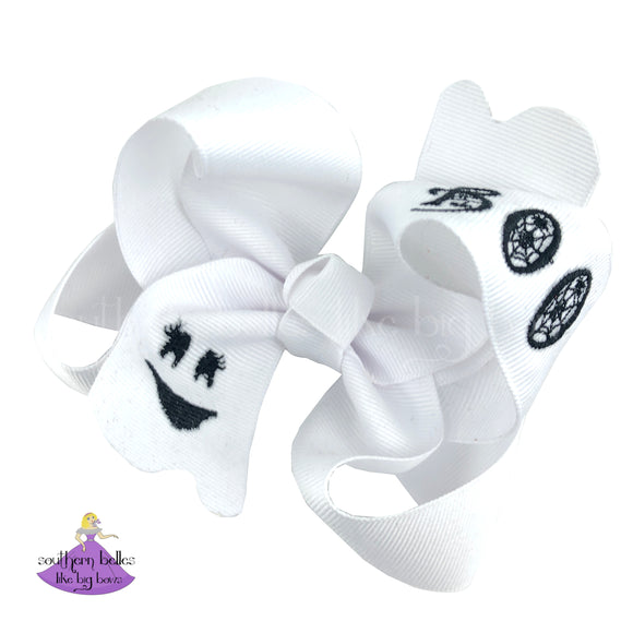 Big Halloween Hair Bow for Girl with Embroidered Ghost Face