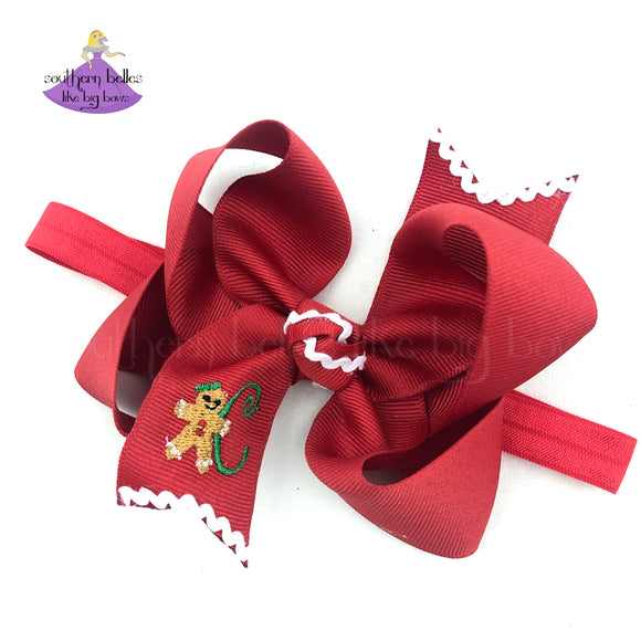 Personalized Christmas Baby Bow Headband with Initial Letter