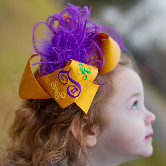 Big Mardi Gras Parade Hair Bow with Monogram and Feathers