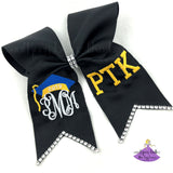 Graduation bow with monogram and school letters for grad cap topper decoration