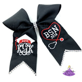 Monogrammed graduation bow with stethoscope and bsn
