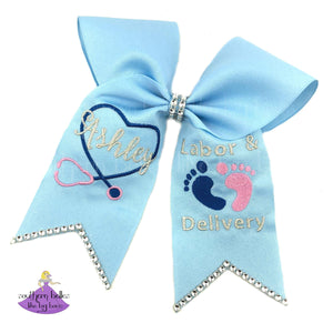 Nurse Labor & Delivery Graduation Cap Decoration with Name and Baby Feet