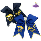Personalized Graduation Cap Decoration Bow with Monogram and School Letters or Degree